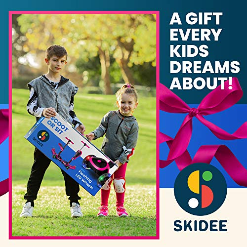 SKIDEE Scooter for Kids with Foldable and Removable Seat – Adjustable Height, 3 LED Light Wheels, 3 Wheels Kick Scooter for Girls & Boys 2-12 Years Old - Y200