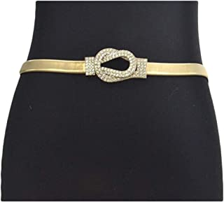 Fashion Double Ring Buckle Elastic Waistband Women's Rhinestone Inlay Elastic Spring Waist Chain (Color : Gold, Size : 75cm)