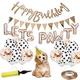 Tail Party Kit de decoración de cumpleaños para gatos y perros con sombrero de cumpleaños para perro, globos de fiesta, pancarta de cumpleaños para perro, bomba de aire – (oro rosa)