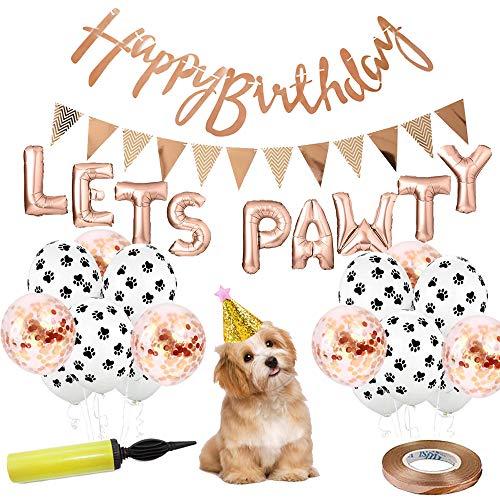Tail Party Dekoration Hunde Geburtstag 29 Tlg. | Geburtstagsdeko Hund und Katze | Girlanden, Ballons, Hut | Hund Geburtstag Deko Set | Hunde Geschenk für Hundebesitzer (Rosegold)