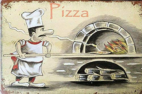 Pizza Look Vintage Retro Tin Signs Man Cave, Shed & Bar Sign Cafe Metal Tin Sign 8x12 Inch Garage Decor