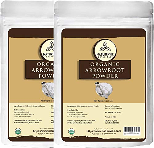 Naturevibe Botanicals Organic Arrowroot Powder, 2 lbs | Arrowroot Flour or Arrowroot Starch | Gluten Free and Non-Gmo | Manihot esculenta (2 Pack of 1 lb) | Cooking and Baking | Packaging may vary.