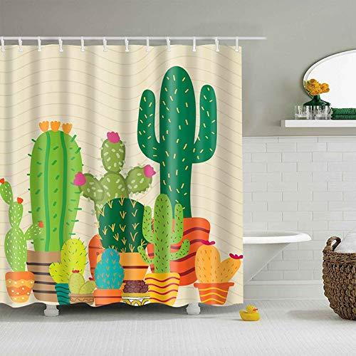 XCBN Tenda da bagno tropicale Cactus Tenda da bagno in Tessuto per la decorazione del bagno Accessori da bagno stampati A8 180x200cm