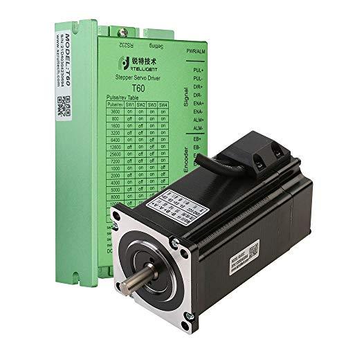 RTELLIGENT CNC Kit Schrittmotor mit geschlossenem Regelkreis und Treiber Nema 24 Hybrid 3 NM 428,5 oz.in Bipolar 108 mm Länge 1000 Line Inkrementalgeber