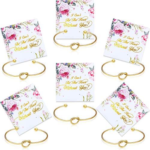 6 Stücke Brautjungfer Armband Knoten Manschette Armreif mit I Cant Tie The Knot Without You Brautjungfer Karten (Gold)