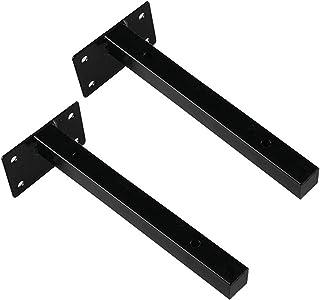 Smeedijzeren Plankbeugels (2 Stuks), 2x2cm Vierkante Buis, Wandmontagesteun, Zwevende Plankbeugel, Bespaar Ruimte, Wit, Zw...