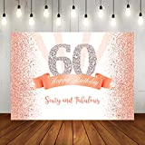 Happy 60th Birthday Party Photography Backdrop Sweet Rose Gold and Pink Dots Background for Adult Woman Party Banner Decorations Shining Diamond Number Sixty Years Old Photo Studio Props 7x5ft