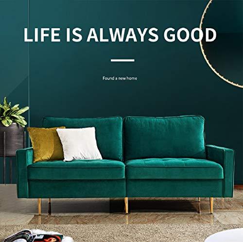 "Rhomtree Mid Century Sofa Velvet Fabric Upholster Couch 71"" Modern Futon Bench Loveseat Living Room Sofa with 2 Throw Pillows (Green)"