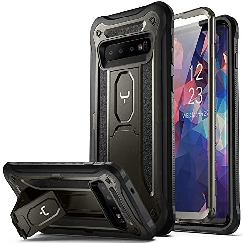 YOUMAKER Case for Galaxy S10, Kickstand Case with Built-in Screen Protector Heavy Duty Protection Shockproof Full Body Slim Fit Cover for Samsung Galaxy S10 - Gun Metal