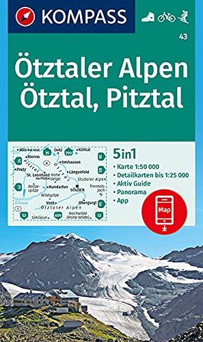 KOMPASS Wanderkarte Ötztaler Alpen, Ötztal, Pitztal: 5in1 Wanderkarte 1:50000 mit Panorama, Aktiv Guide und Detailkarten inklusive Karte zur offline ... Skitouren. (KOMPASS-Wanderkarten, Band 43)