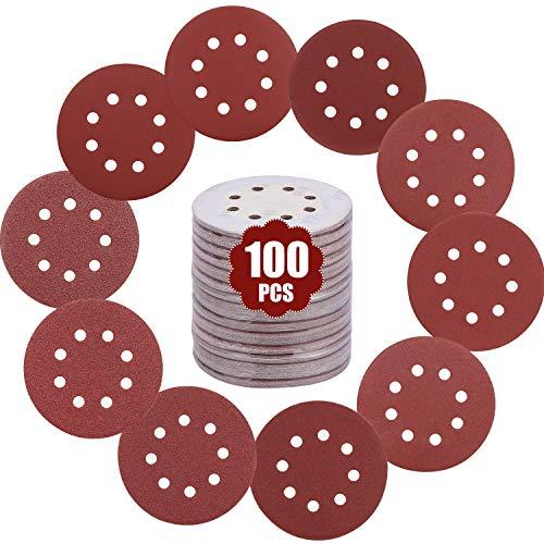 GALAX PRO Papel de Lija, Discos de Lijado de 100PCS con 125mm, 10 Hojas por Grano, P60/P80/P100/P120/P150/P180/P240/P320/P400/P600, Almohadillas de Lijadora de Mouse - F1602000101