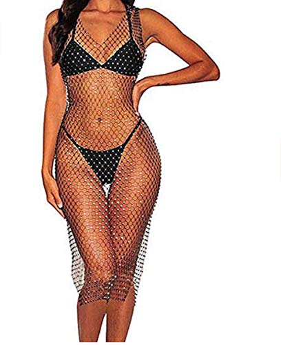 Damen sexy elastische durchsichtige Fischnetz ärmellose Strass kurze Tops ischnetz Bikini Cover Up Mesh Crop Tops Sommer Strandkleid Bikini vertuschen Oben Sonnenschutz Kleidung (Schwarz , 90cm )