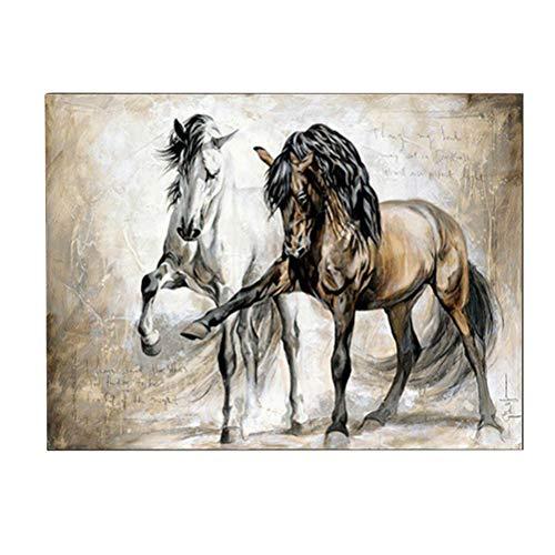 Nargut Vintage Nostalgie Braun Pferd Wohnzimmer Dekoration Malerei Tier Ölgemälde Kunst Malerei Rahmenlos Malerei Kern 80x120cm