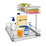 Pull Out Cabinet Organizer, AHNR 2-Tier Under Sink Slide Out Kitchen Cabinet Storage Shelves with Sliding Storage Drawer for Cabinet - 12.6W x 16.5D x 13H, Request at Least 13' Cabinet Opening