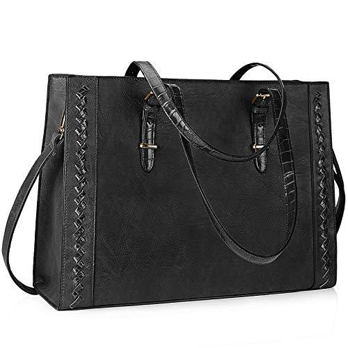Lubardy Shopper Damen Groß Leder Handtasche Damen Schwarz 15.6 Zoll Laptop Tasche Umhängetasche Damen für die Arbeit Geschäft Schule Reise