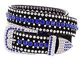 Hagora Men's Shiny 2 Color Zirconia Rivets 1-1/4' Wide 3 Piece Metal Buckle Belt,Dark Blue Medium