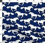 Marineblau, Weiß, Pony, Pferd, Reiten Stoffe - Individuell