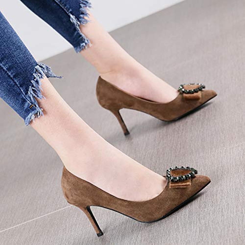 HRCxue Pumps Bohne Sand Farbe Spitze Spitze Wildleder runde Schnalle einzelne Schuhe Mode Stiletto High Heels Frauen  hier hat das neuste
