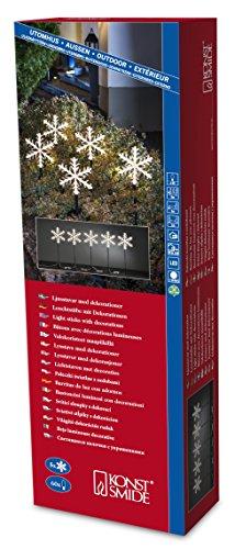 Konstsmide 4445-103 Set de 5 Bâtons Lumineux Flocons + 60 LED Blanc Chaud + Câble Vert 24 V