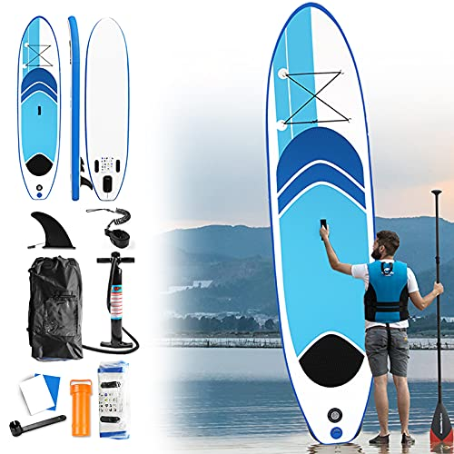 Aufun 320 x 76 cm Tavola da Paddle Surf Paddle Board, Universale SUP all Round: Paddle Board, Pompa, Sacca Trasporto, Kit di Riparazione, Pagaia Regolabile in Alluminio, Antiscivolo Deck, Bleu