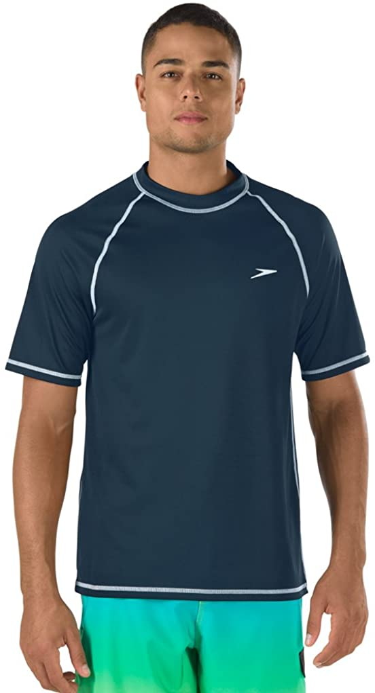 Speedo Men's Standard Uv Swim Shirt Short Sleeve Loose Fit Easy Tee, New Navy, 2XL