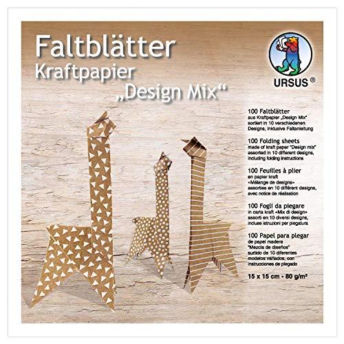 URSUS 38055599F - Papel de estraza (100 hojas en 10 diseños diferentes, aprox. 15 x 15 cm, 80 g/m², impresión por una cara, para doblar imágenes de ventanas, estrellas y figuras, color marrón y blanco