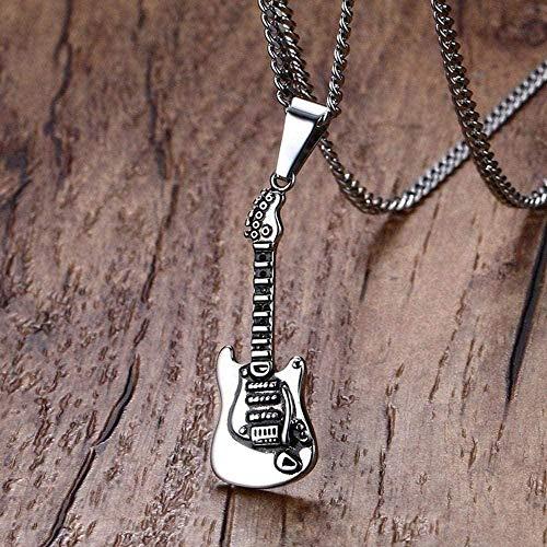 WLHLFL Collar Collar para Hombre Metal Acero Inoxidable Guitarra acústica eléctrica Colgante Collar Rock Roll Estilo Hiphop Joyería de Moda Collar Colgante Cadena para Mujeres Hombres