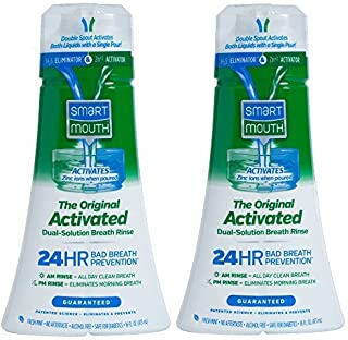 SmartMouth Original Activated Mouthwash for 24 Hour Bad Breath Prevention, Fresh Mint, 16 fl oz, 2 Pack