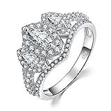 JewelryPalace Anillo de compromiso 3 Piedra de Split caña 2ct circonio cúbico marquesa de boda Plata de ley 925 Tamaño 11
