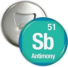 DIYthinker SB antimonio Elemento químico Chem Ronda abrebotellas imanes Insignia del botón 3pcs Regalo Plata