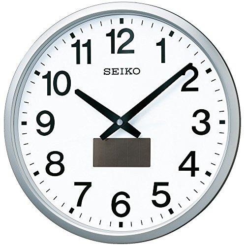 セイコー クロック 掛け時計 ハイブリッドソーラー 電波 アナログ 銀色 メタリック SF242S SEIKO