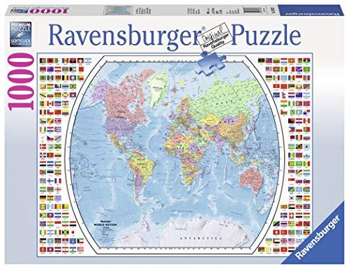 Ravensburger 19633 Political World Map Puzzle 1000pc, Adult Puzzles