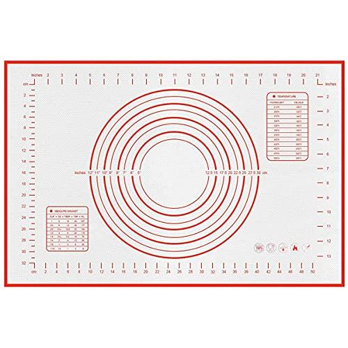 WBYJ Silikonmatte Backmatte, groß 70x50cm Antihafte rutschfeste Backunterlage, BPA frei Silikonmatte Backfolie Arbeitsmatte mit Messung Wiederverwendbar für Fondant Gebäck Pizza Matte 70x50cm Rot