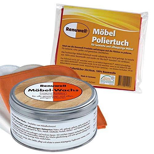 Renuwell Möbel-Wachs 500 ml + Möbel Poliertuch 4 Stück Spar-Set