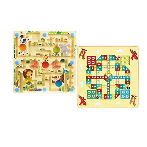WFF Spielzeug Wooden Labyrinth Spielzeug und Fliegen Schach Spielwaren, pädagogische Lernspielzeug, Passende Motorikspiele, Magnetic Pens Geschenke der Kinder mit (Color : Forest Maze+Flying Chess)