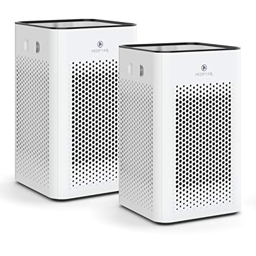 Medify ma-25 air purifier with h13 hepa filter - a higher grade of hepa for 500 sq. Ft. Air purifier | dual air intake | two '3-in-1' filters | 99. 9% removal in a modern design (2-pack, white)