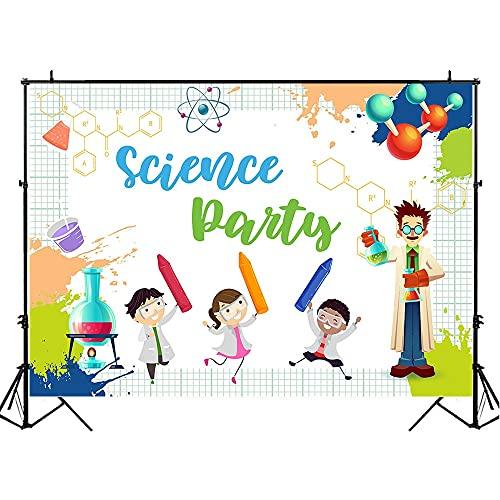 Festa della scienza sfondo laboratorio cartone animato bambini compleanno famiglia tiro festa sfondo studio fotografico A1 7x5ft 2.1x1.5m