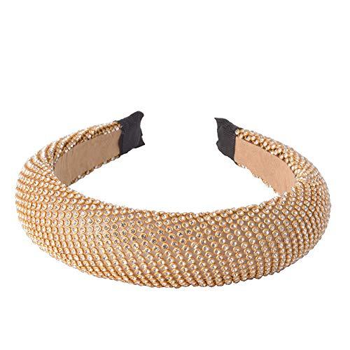 iKulilky Hoofdband voor dames, vintage, strasssteentjes, brede haarband, retro, elastische hoofdband, haarband, mode, spons, hoofdband, haarsieraad, goudkleurig