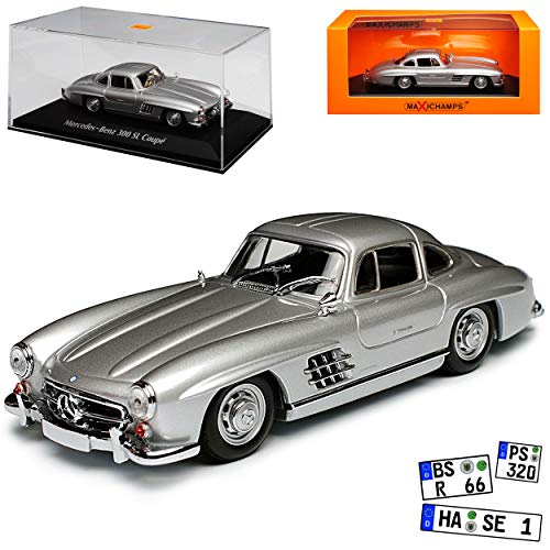 Minichamps Mercedes-Benz 300SL Coupe Silber W198 1954-1963 Flügeltürer 1/43 Maxichamps Modell Auto mit individiuellem Wunschkennzeichen