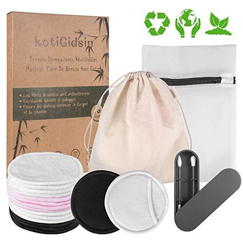 KotiCidsin Coton demaquillant lavable 16pcs丨Coton-tige Réutilisable 丨Boîte d'emballage biodégradable+2 Sac de lavage+Fibre de bambou(4pcs)+velours(4pcs)+Coton noir(4pcs)+Coton blanc(4pcs)