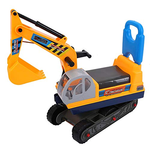 Wakects Excavadora de juguete grande para niños, excavadora de niños con casco de seguridad y pala controlable, juguete excavador para niños