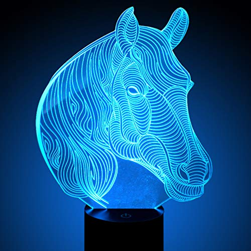 Novelty Horse Led Night Light Horse Head 3D Illusion Lamp, 7 Colours Flashing Touch Switch Bedside Desk Lighting for Kids Presents