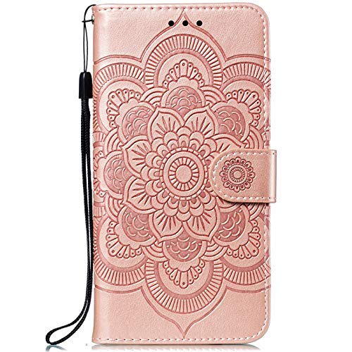 CTIUYA Hülle für Nokia 5.1 Plus, Handyhülle Schutzhülle Flip Hülle Tasche Hülle Leder Geldbörse Klapphülle Kartenfach Brieftasche Magnet Handytasche Lederhülle für Nokia 5.1 Plus,Rose Gold
