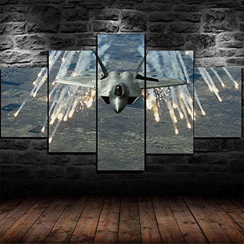 ELSFK 5 Pezzi F-22 Raptor Military Plane Stampe su Tela Moderne Soggiorno Decorazione Murale Poster Camera da Letto Opera d'Arte Wall Quadri Immagine Personalizzata 100x55cm