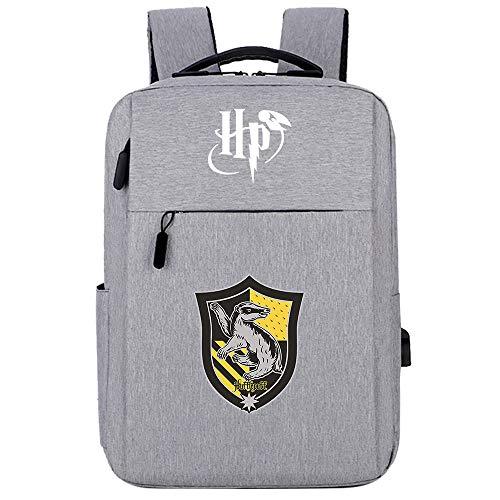 Mochila Casual para computadora portátil con Puerto de Carga USB, Mochila Escolar de la Serie Harry Potter Hogwarts, Elegante Mochila para computadora de Viaje HP.2021 Gris