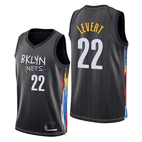 ZMIN Camisetas de la NBA para Hombre, Brooklyn Nets # 22 Levert, Camisetas Deportivas de Baloncesto de Malla Bordadas Resistentes al Desgaste y Transpirables,Negro,XXL 185~190cm