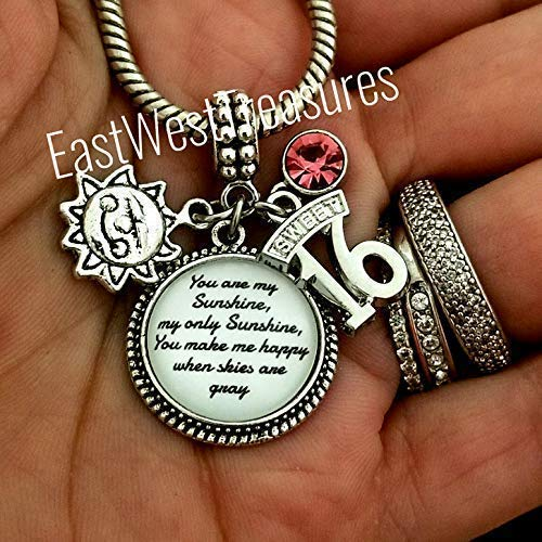 sweet 16 gift for daughter sweet 16 necklace with initial charm sweet sixteen birthday gift sweet 16 birthday Sweet 16 necklace