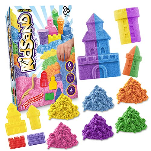 KidSand 1.3 lbs - Magic 6 Color Sand - 4 Shaping Molds for Play Sand - Kids Sand for Indoor Playing - Sand Kit for Kids - Box for Developing Sand