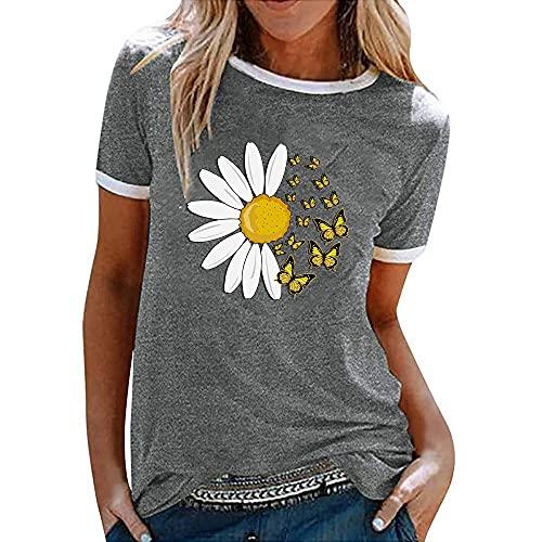 Tops Mujer Camiseta Mujer Dulce Estampado Floral Cuello Redondo Manga Corta Moda Casual Suelto Cómodo Transpirable Elegante Mujer Blusa M-Grey S