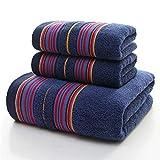 Ftule Juego de Toallas, 3 Piezas de Conjuntos de Toallas súper absorbentes de algodón, adecuados para Juegos de Toalla de Playa de Hotel Familiar (Color : Blue, Size : 3 Piece Set)
